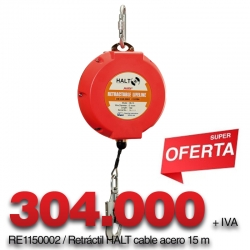 Retráctil Halt Cable Acero 15 m